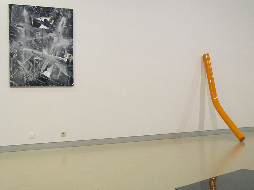 left painting 'Verfscherven 2', right Henk Delabie, expo CC De Steiger, Menen, 2013